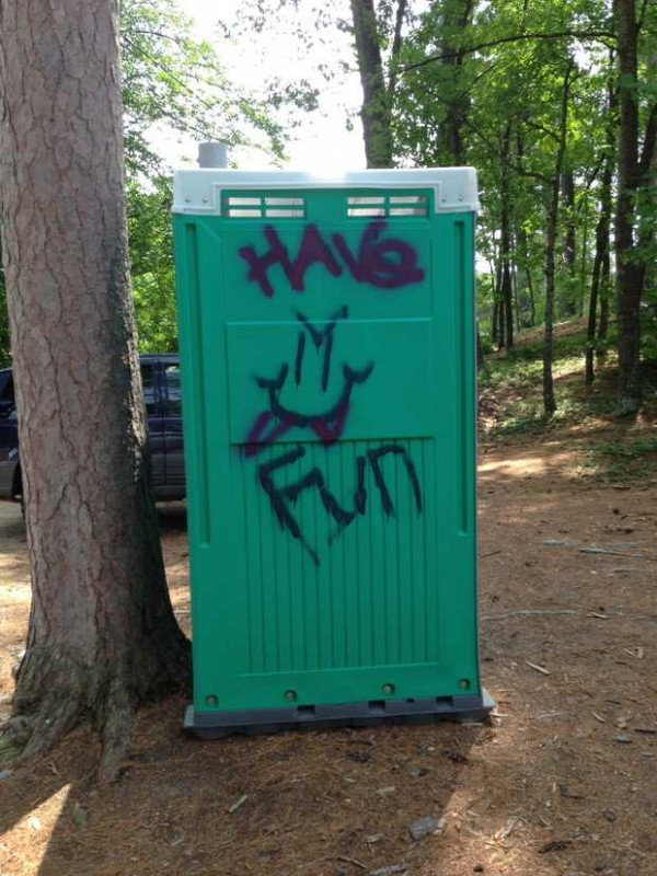 The Town of Livermore will have to pay to have graffiti removed from a portable toilet placed at the public beach at Brettuns Pond. The town leases the Porta-Potty from a Turner company. If the markings do not come off, the town may have to buy or replace the company's property, town administrative assistant Kurt Schaub said.