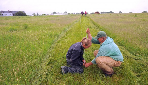 Carole Mapes (left) and Hanne Tierney set up a fence in one of the fields in mid-June at Cornerstone Farm in Palmyra. The pastures were separated for organic and non-organic pigs, cows and the horses.