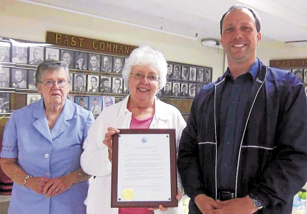 At the June 12 annual meeting of the Brewer Garden & Bird Club, Assistant Brewer City Manager Andrew Variso (right) presented to Dorothy Niles (left) and Ann Gallant a resolution from the city congratulating the club for 80 years of service to Brewer. The club has been involved with Brewer Days, the Blue Star Marker, and educational programs. Gallant and Niles are the club's outgoing co-presidents. The incoming president is Carol Smith.