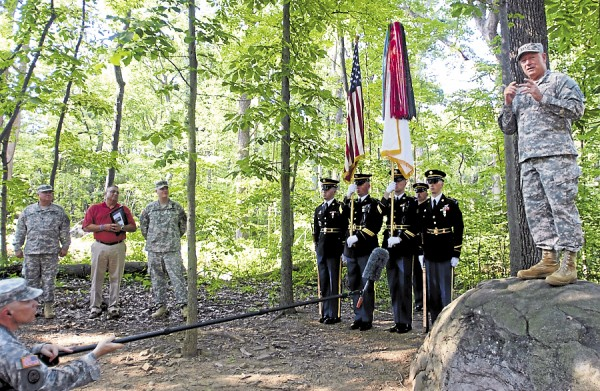 Gen. Frank Grass, Chief of the National Guard Bureau, addresses more than 140 National Guard soldiers from Maine and Alabama during a ceremony held July 17 on Little Round Top in Gettysburg, Pa. The Guardsmen met to commemorate the soldiers from each state who died 150 years ago during the historic battle between the 20th Maine Infantry Regiment and the 15th Alabama Volunteer Infantry Regiment. &quotI encourage you to continue studying history, study as many of these individuals that fought here. Where they came from was the same place you came from. They were citizens, they were military. You are citizens, you are military, and you continue to answer the call,&quot Grass said