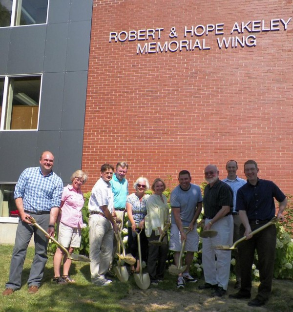 Officials from the Mark and Emily Turner Memorial Library, the Presque Isle City Council, the city of Presque Isle and more gathered in front of the new Robert and Hope Akeley Memorial Wing of the facility on Monday, July 15, 2013, to celebrate the second phase of construction at the library. In 2010, Mary Barton Akeley Smith  donated more than $1 million to the facility to honor her parents, which has added more space for books, computers and other materials and made the facility more compliant with the Americans With Disabilities Act. With that completed, the second phase of construction is set to be completed in six or seven months.