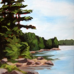 &quotLooking Down River&quot by Sarah Wilde, one of the works from the Damariscotta River Association art show, &quotVisions of the River.&quot