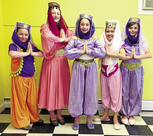 Costumed and ready to rehearse a scene from &quotAladdin&quot are (from left) Syd Albert, Emma Bragdon, Brielle Biehn, Lyrica Marsh and Elizabeth Fessenden. &quotAladdin&quot will be staged at 7 p.m. Friday and Saturday, July 19-20, at Next Generation Theatre, 39 Center St. in Brewer.