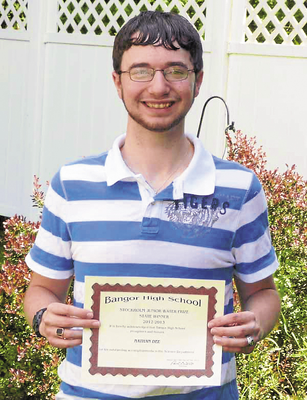 Nathan Dee, a recent Bangor High School graduate, won the Stockholm Junior Water Prize for Maine, marking the sixth year in a row that a BHS student has received this honor.