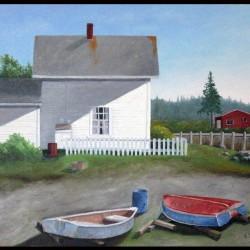 """Neighbors Dooryard""  16"" x 20""  Oil on Canvas by Ed Botkin"
