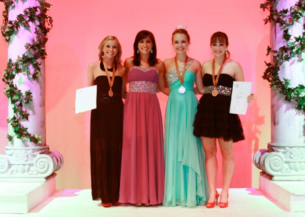 Katarina Pinet of Bangor, (left) Julia Furtado (Miss Maine 2011), Katie Elliott (Miss Maine's Outstanding Teen 2012) of Scarborough, and Emily Baker of Topsham.