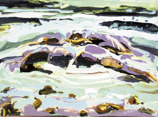 This abstract vision of surf breaking over rocks at Monhegan, painted by artist Emily Trenholm, will be among the work on display in the exhibit, &quotMonhegan - A New Perspective,&quot through Sept. 21, at the University of Maine Museum of Art, 40 Harlow St. in Bangor. Museum admission is free.
