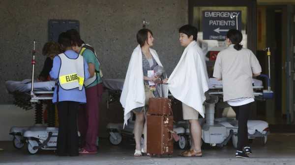 At San Francisco General Hospital, passengers from an Asiana Airlines Boeing 777 arriving from Seoul, South Korea, which crashed at the San Francisco International Airport, are treated in San Francisco, Calif., on Saturday July 6, 2013.
