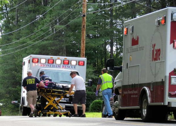 One of the two victims on the motorcycle was transported to Stephens Memorial Hospital by a Stoneham ambulance.