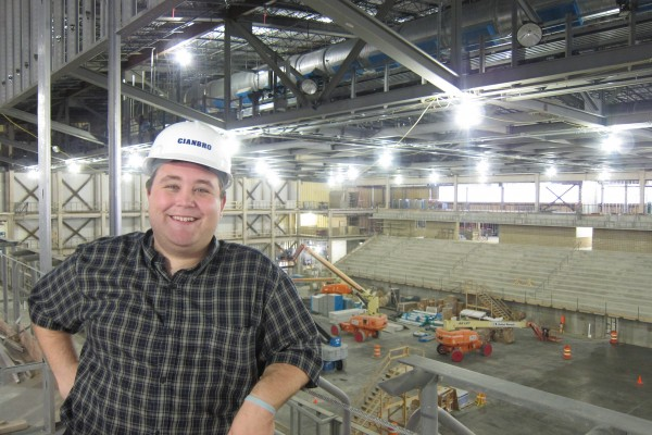 Councilor Longo tours the Cross Insurance Center in it's early days of construction.