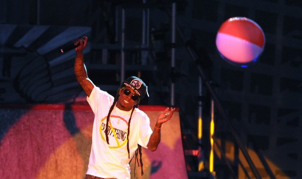 Lil Wayne performs at the Bangor Waterfront Tuesday evening.