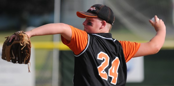 Brewer's Evan Andrews pitches against the Broncos on Tuesday in Brewer.