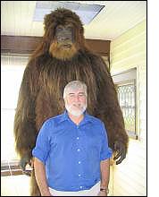 Loren Coleman and replica bigfoot