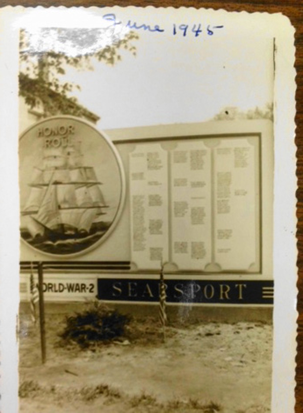 An old photo shows Searsport's World War II memorial, which was taken down in 1973.