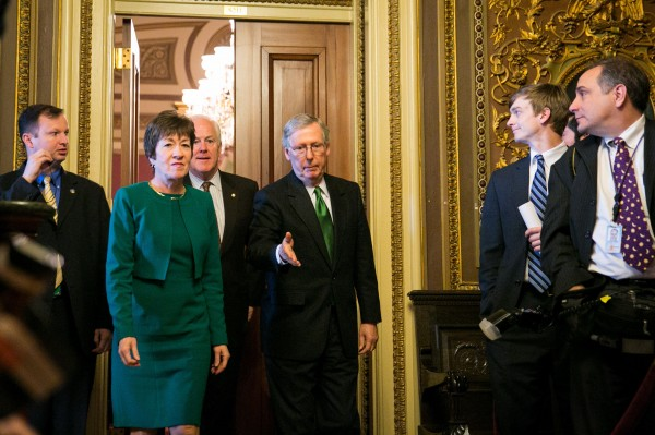 Sens. Susan Collins. R-Maine, John Cornyn, R-Texas, and Mitch McConnell, R-Ky., meet during budget talks, earlier this spring.