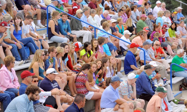The nearly-full bleachers at Mansfield Stadium during the Bangor versus Philippines game during the 2013 Senior League World Series Monday.