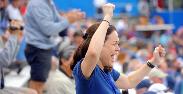 Amor Balagtas of Manila, Philippines cheers while watching the Bangor versus Philippines game during the 2013 Senior League World Series in Bangor Monday.  Balagtas's son Phonso plays on the Philippines' team.
