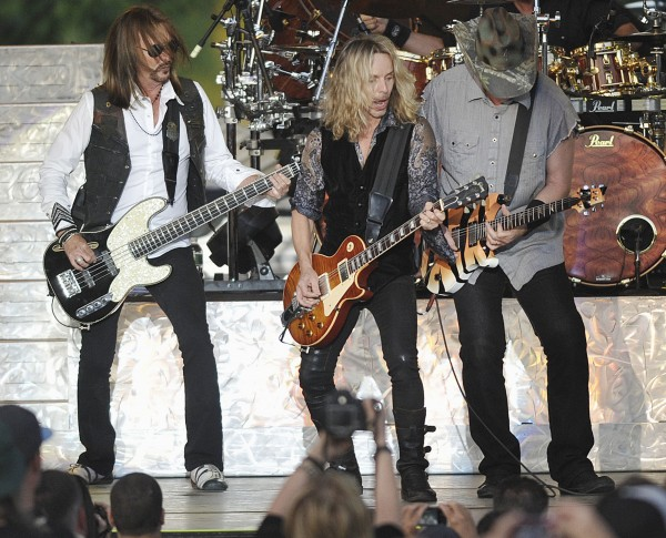 Styx was joined by Ted Nugent, right, onstage at the Bangor Waterfront Concerts, Bangor, Maine, Sunday, July 8, 2012.