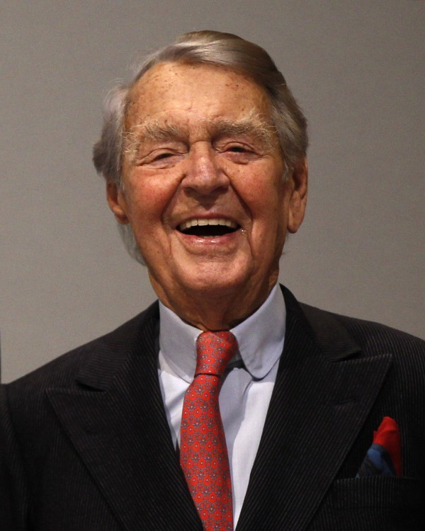 File photo of Berthold Beitz, the 99-year-old chairman of the Alfried Krupp von Bohlen and Halbach Foundation, smiling during the company's annual shareholders meeting in Bochum January 18, 2013. Beitz died on Tuesday ThyssenKrupp AG reported July 31, 2013.