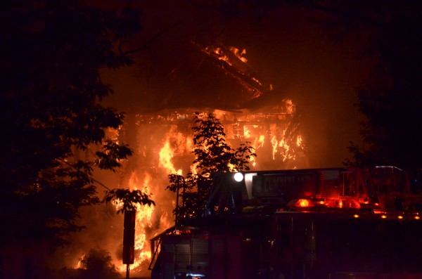 The Westcustogo Grange Hall in North Yarmouth burned to the ground overnight Thursday. Firefighters were still at the scene at 7:30 a.m. Friday, a dispatcher confirmed.