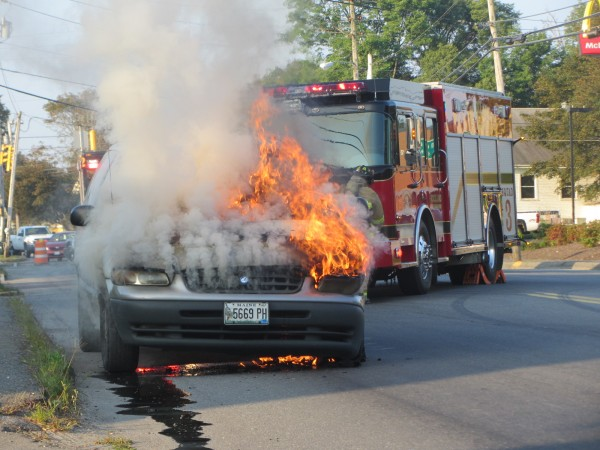 A minivan burst into flames Wednesday morning on busy Camden Street (Route 1) in Rockland.