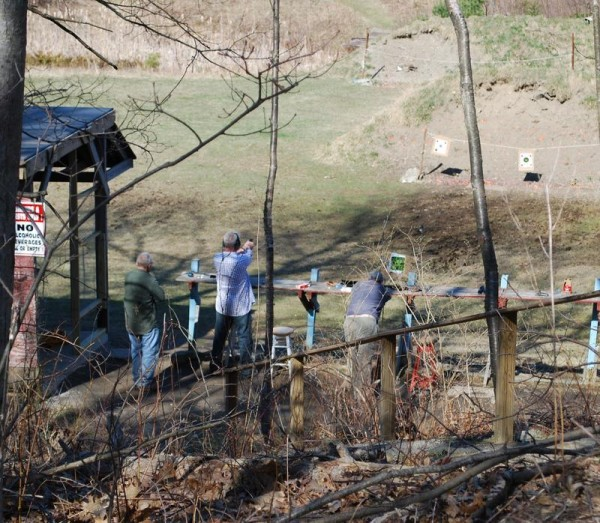 Club members take aim at targets at the Spurwink Rod & Gun Club on Sawyer Road in Cape Elizabeth in April.
