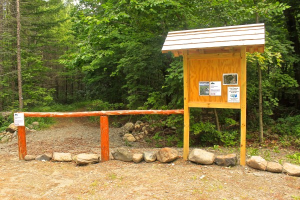 A kiosk and cedar fencing mark the trail head of the Central Penjajawoc Preserve, which officially opened Aug. 13, 2013, in Bangor.