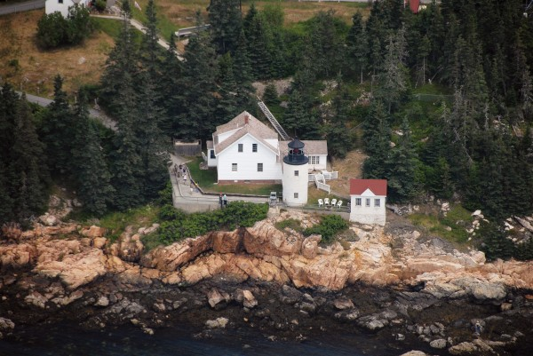 Aerial view of Bass Harbor Head Lighthouse on Mount Desert Island. Photo taken on July 14, 2012.