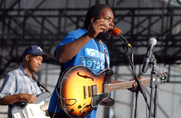 Blues band Marquise Knox performs on the Railroad Stage on Aug. 25, 2012, at the American Folk Festival in Bangor.