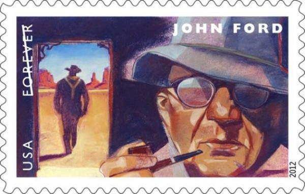 The stamp bearing the likeness of Portland native and Hollywood legend John Ford was released in 2012. The Ford stamp was the first in a series honoring movie directors.