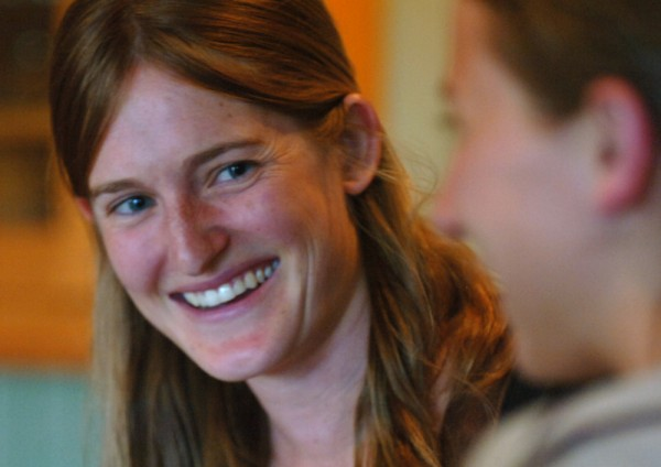 Annemarie Ahearn (left), owner and chef of Salt Water Farm, laughs with a student during a workshop in May 2011.