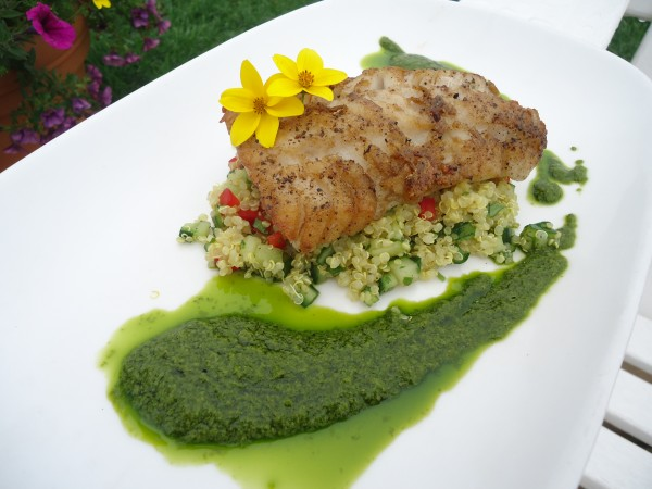 Pollock with quinoa tabbouleh and yogurt lime sauce is a sustainable seafood entree at Inn by the Sea in Cape Elizabeth.
