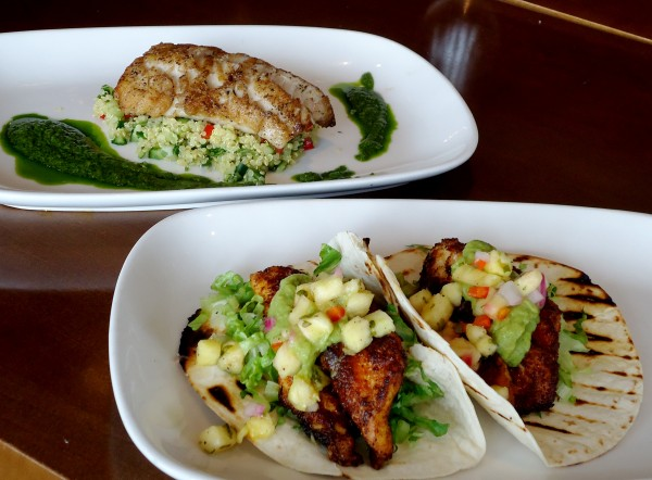 Pollock with quinoa tabbouleh and dog fish tacos are sustainable seafood meals at Inn by the Sea in Cape Elizabeth.