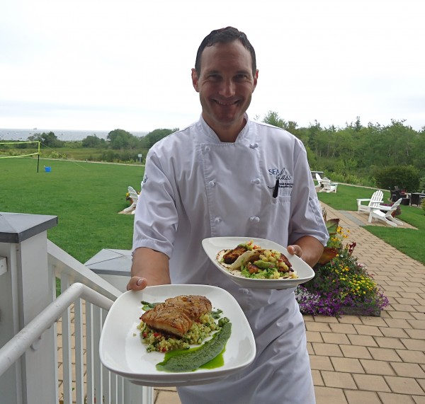 Executive chef Mitchell Kaldrovich at Inn by the Sea in Cape Elizabeth is committed to serving only sustainable seafood from the Gulf of Maine. His pollock with quinoa tabbouleh and dog fish tacos are menu staples.