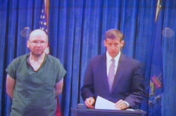 Christopher Knight appears with his lawyer for his arraignment hearing at the Kennebec County Superior Courthouse on Tuesday, April 16, 2013.