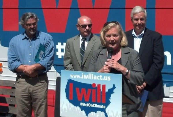 U.S. Rep. Chellie Pingree, D-Maine, addresses a rally on climate change in downtown Portland on Monday, Aug. 12. With her are Glen Brand (from left) of the Sierra Club, Mayor Michael Brennan, and U.S. Rep. Mike Michaud, D-Maine.