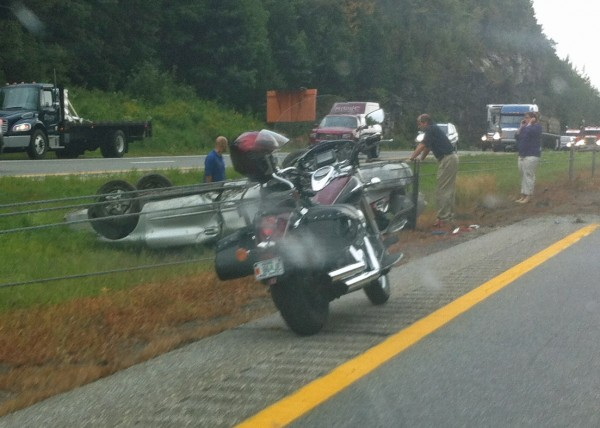 A serious crash on Interstate 295 southbound in Falmouth just after 9 a.m. caused traffic to back up in both directions.