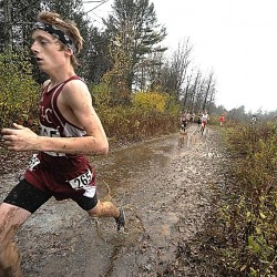 Ellsworth High School's Dan Curts had a decent lead by the half mile mark and maintained it to the finish of of the Eastern Maine Boys' Class B Cross Country Championship in Belfast Saturday, Oct. 20, 2012.