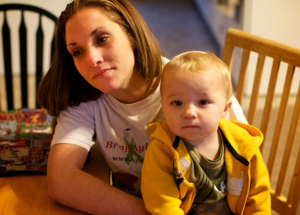 Trista Reynolds and her then-20-month-old son, Raymond, in December.