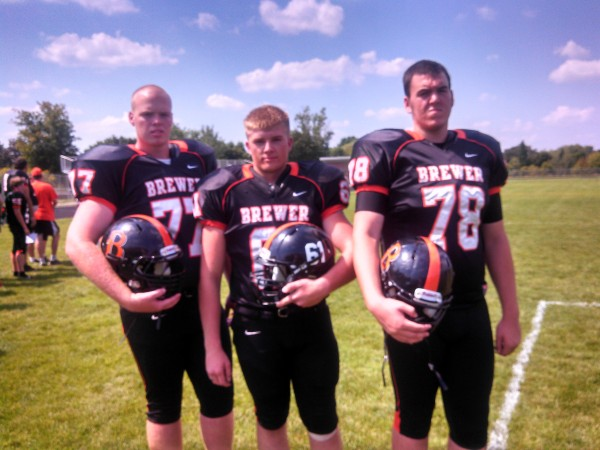 Brewer High School football captains Adam Lufkin (from left), Joshua Lugdon and Calvin Patterson.