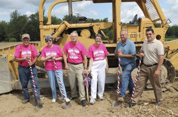 Participating in the Three Rivers Kiwanis Club ground-breaking ceremony on July 29 were, from left, Kiwanians Bob Ellison, Pauline Mullins, Tom Harrigan, Nancy Harrigan, Milo Town Manager Dave Maynard and Ron Desmarais.