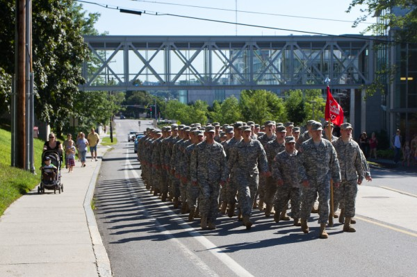 The 133rd Engineer Battalion marched from the University of Southern Maine campus to the Exposition Building on Saturday morning as they prepare to leave for Afghanistan next week.