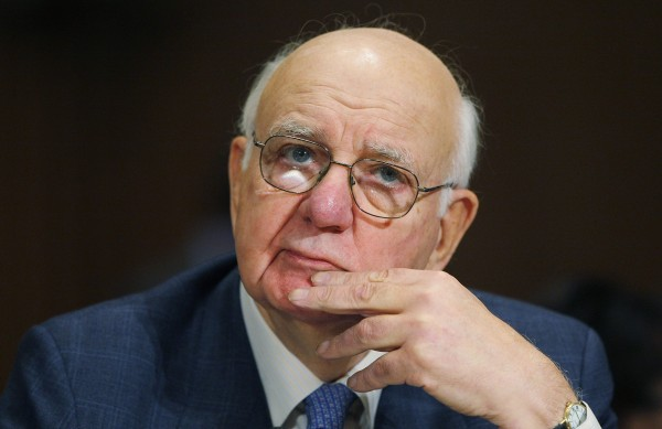 Former US Federal Reserve Bank Chairman Paul Volcker listens to opening statements at a hearing before the Senate Finance Committee on Capitol Hill in Washington in this file photo taken January 21, 2009. The Federal Reserve's policy of paying banks interest on money parked at the U.S. central bank is at odds with its latest efforts to stimulate economic growth, Volcker said September 20, 2012.
