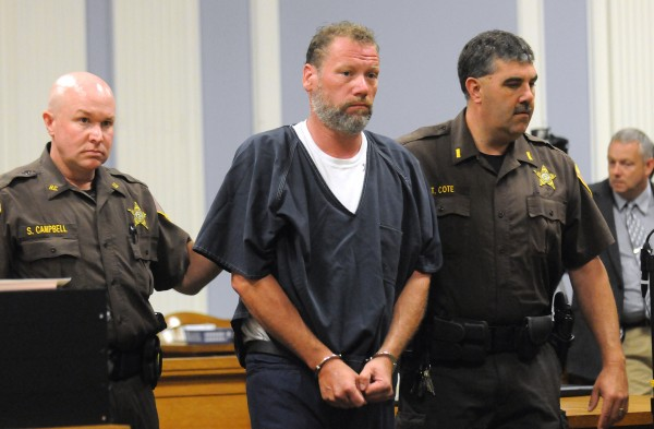 William Morse is escorted into the courtroom at the Hancock County Superior Court in Ellsworth Friday for his first appearance. Morse is charged with allegedly killing Trenton resident Richard Bellittieri.