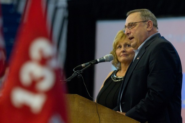 Gov. Paul LePage and his wife Ann address members of the 133rd Engineer Battalion during a Heroes' Send-Off ceremony in Portland on Saturday morning.