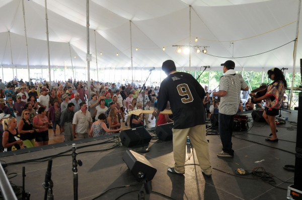 Rosie Ledet and her zydeco band play to a full house at the Bangor Savings Bank Dance Pavilion on Sunday during the American Folk Festival on the Bangor Waterfront.