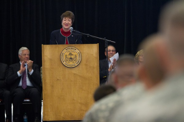 U.S. Sen. Susan Collins addresses members of the 133rd Engineer Battalion during a Hero's Send-Off ceremony in Portland on Saturday morning.