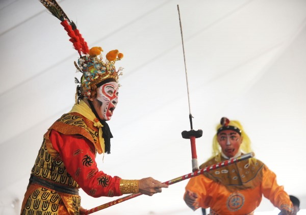 Members of Qi Shu Fang Peking Opera perform on the L.L. Bean Penobscot Stage on Sunday during the American Folk Festival on the Bangor Waterfront.