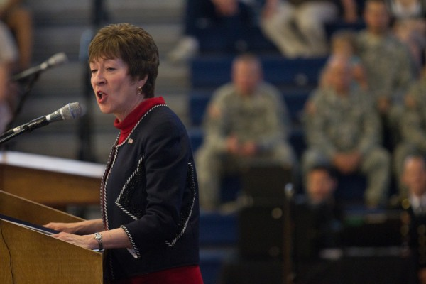 U.S. Sen. Susan Collins addresses members of the 133rd Engineer Battalion during a Heroes' Send-Off ceremony in Portland on Saturday morning.