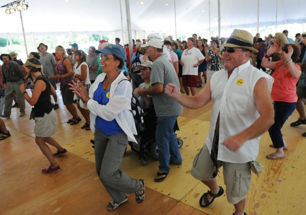 The dance floor of the Bangor Savings Bank Dance Pavilion was alive with dancers as Rosie Ledet and her zydeco band performed on Sunday during the American Folk Festival on the Bangor Waterfront.